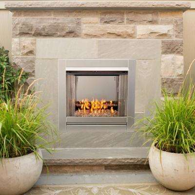 31.5 in. Stainless Vent-Free Outdoor Gas Fireplace Insert with Crystal Fire Glass Media