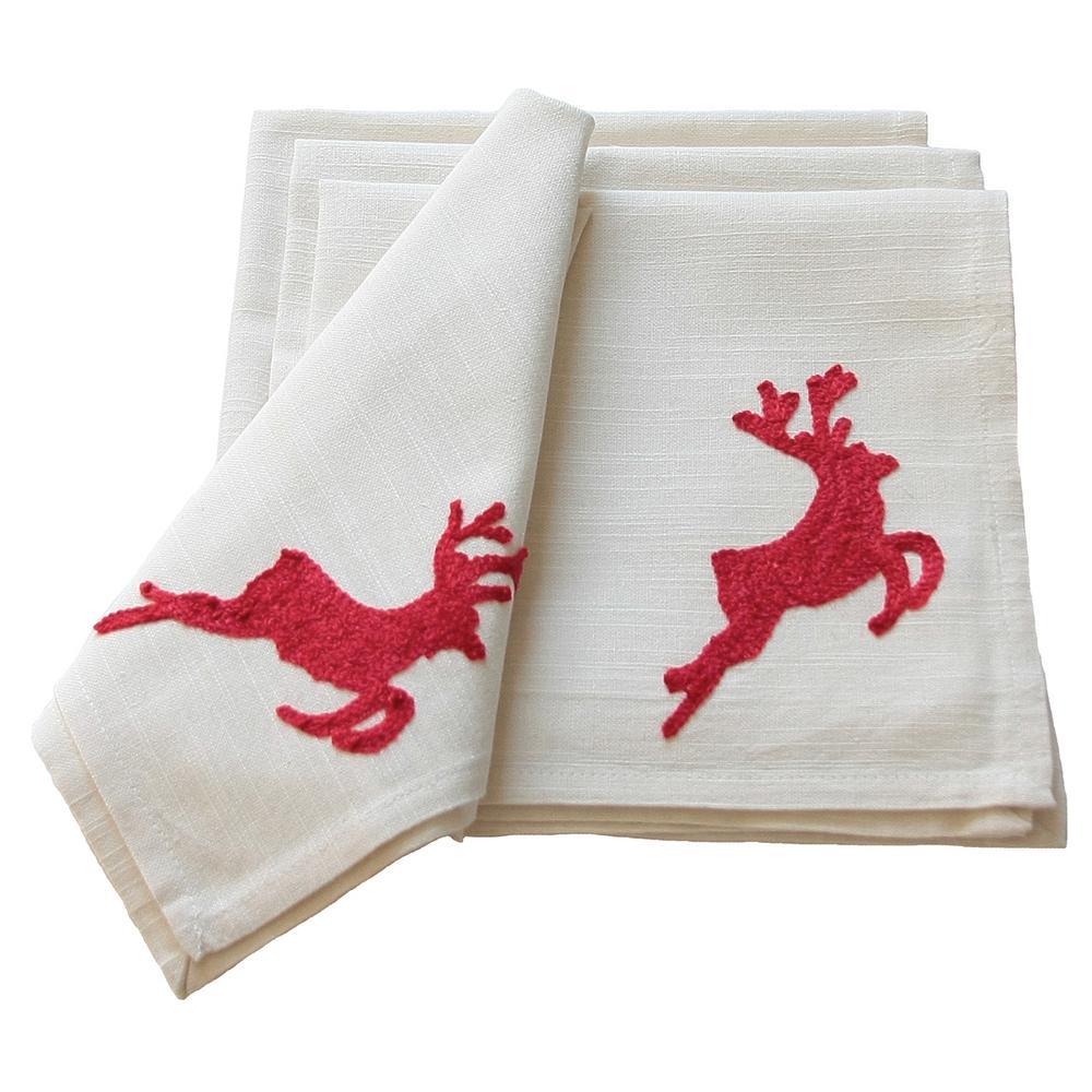 20 in. Reindeer Crewel Embroidery Holiday Reindeer Napkins (4-Set)