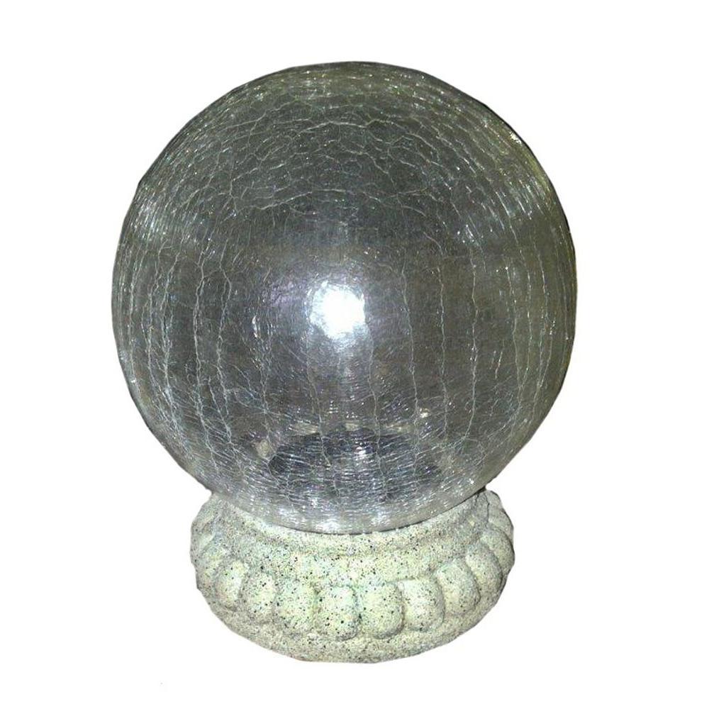 Chameleon Crackled Glass Solar Gazing Ball on Stand
