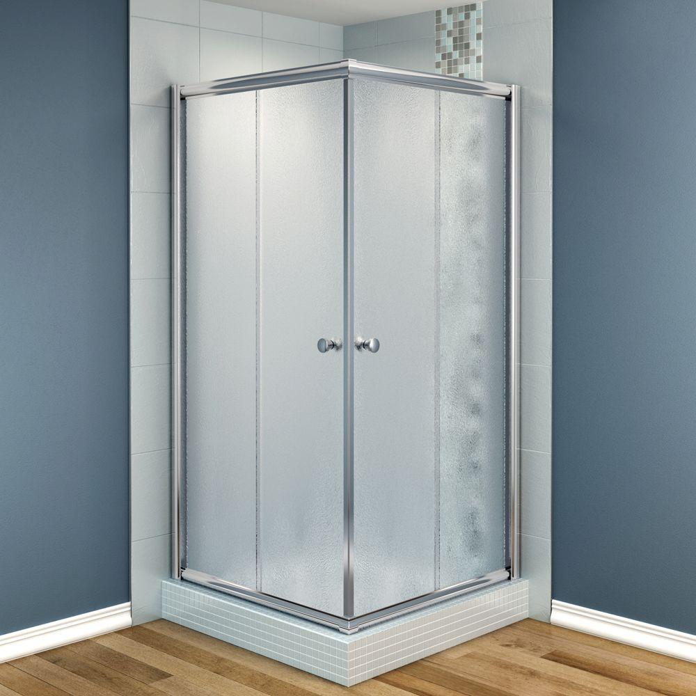 MAAX Centric 36 in. x 36 in. x 70 in. Frameless Corner Shower Door Frost Glass in Chrome Finish-DISCONTINUED