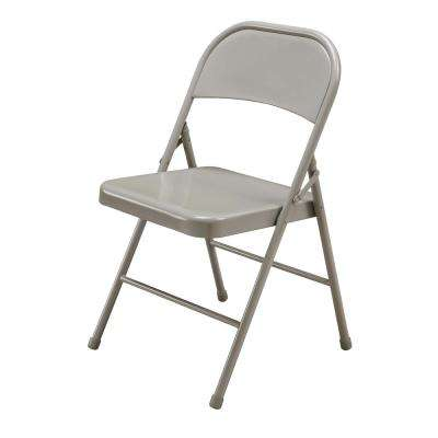 Beige Metal Stackable Folding Chair