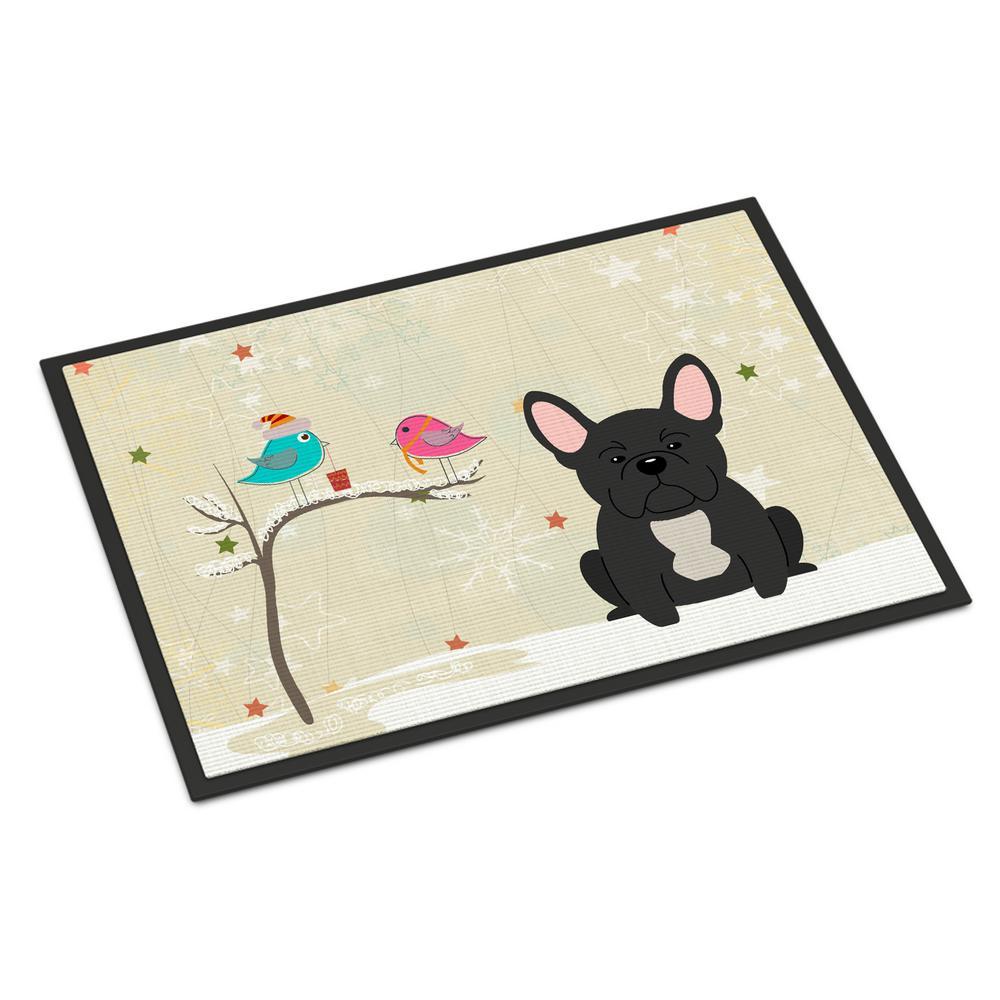 18 in. x 27 in. Indoor/Outdoor Christmas Presents between Friends French Bulldog Black Door Mat