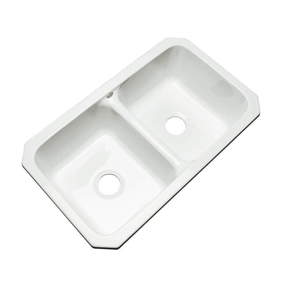 thermocast newport undermount acrylic 33 in  double bowl kitchen sink in white 40000 um   the home depot thermocast newport undermount acrylic 33 in  double bowl kitchen      rh   homedepot com
