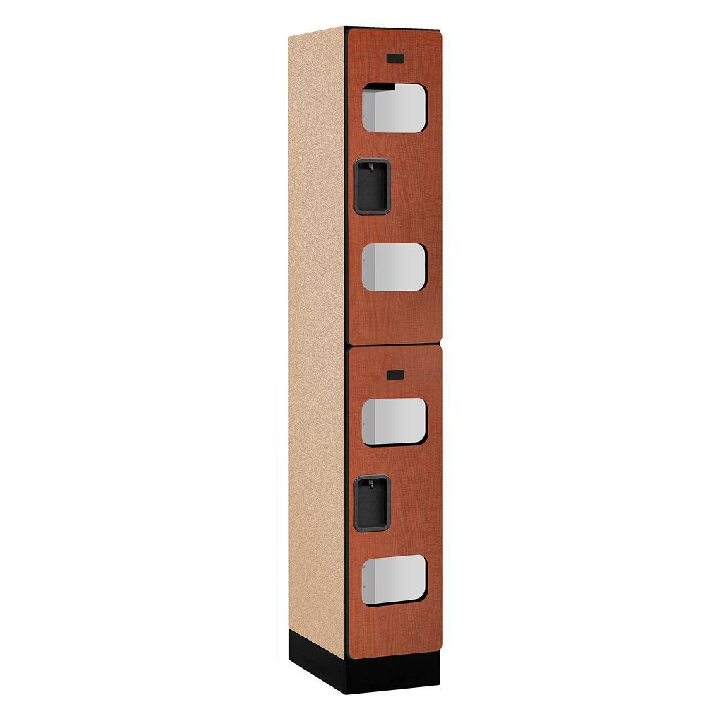 Salsbury Industries S-32000 Series 12 in. W x 76 in. H x 18 in. D 2-Tier See-Through Designer Wood Locker in Cherry