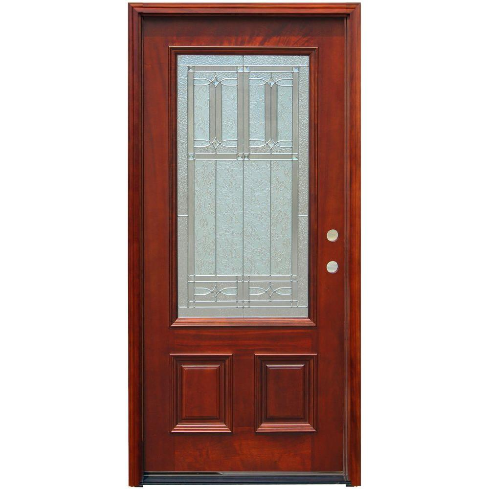 Pacific Entries 36 In X 80 In Traditional 3 4 Lite Stained Mahogany Wood Prehung Front Door