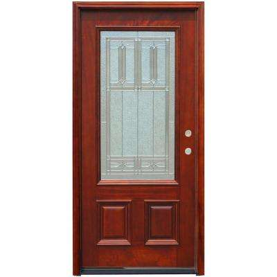 Perfect Traditional 3/4 Lite Stained Mahogany Wood Prehung Front Door