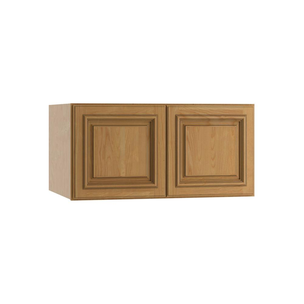 Clevedon Assembled 30x15x24 in. Double Door Wall Kitchen Cabinet in Toffee