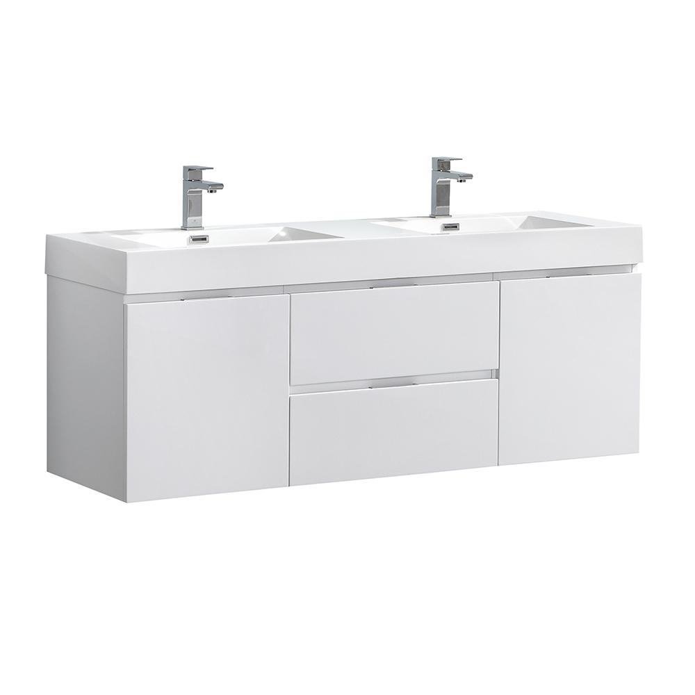 Fresca Valencia 60 in. W Wall Hung Bathroom Vanity in Glossy White with Acrylic Vanity Top in White