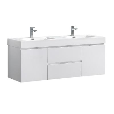 Valencia 60 in. W Wall Hung Bathroom Vanity in Glossy White with Acrylic Vanity Top in White