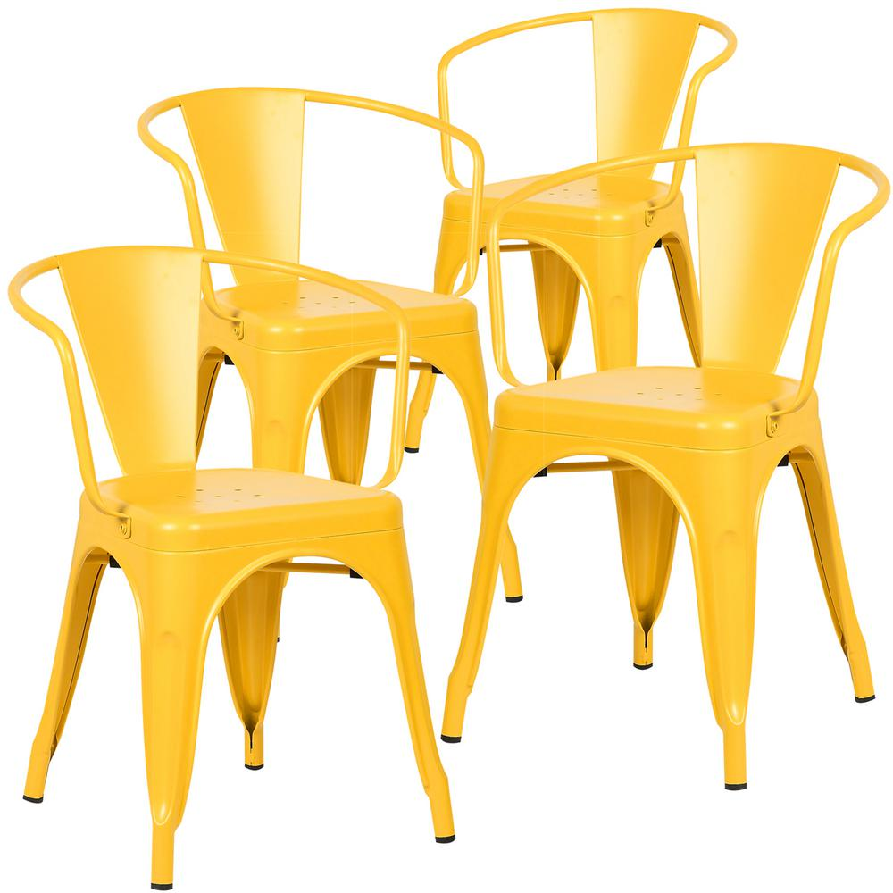 Poly And Bark Cantina Yellow Arm Chair Set Of 4