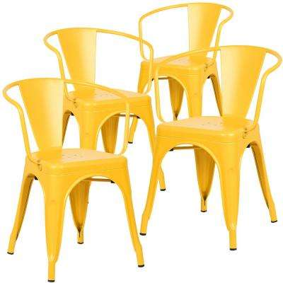 cantina yellow arm chair set of 4 - Yellow Dining Chairs