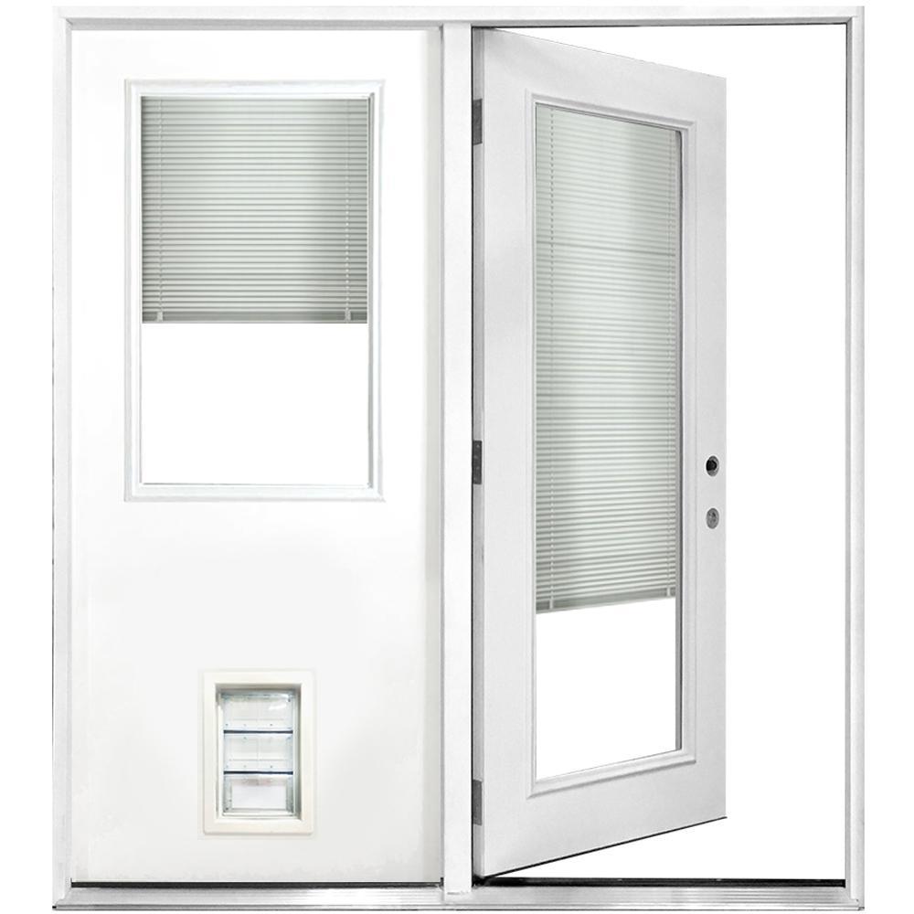 72 in. x 80 in. Mini-Blind White Primed Prehung Left-Hand Inswing Fiberglass Center Hinge Patio Door with Med Pet Door