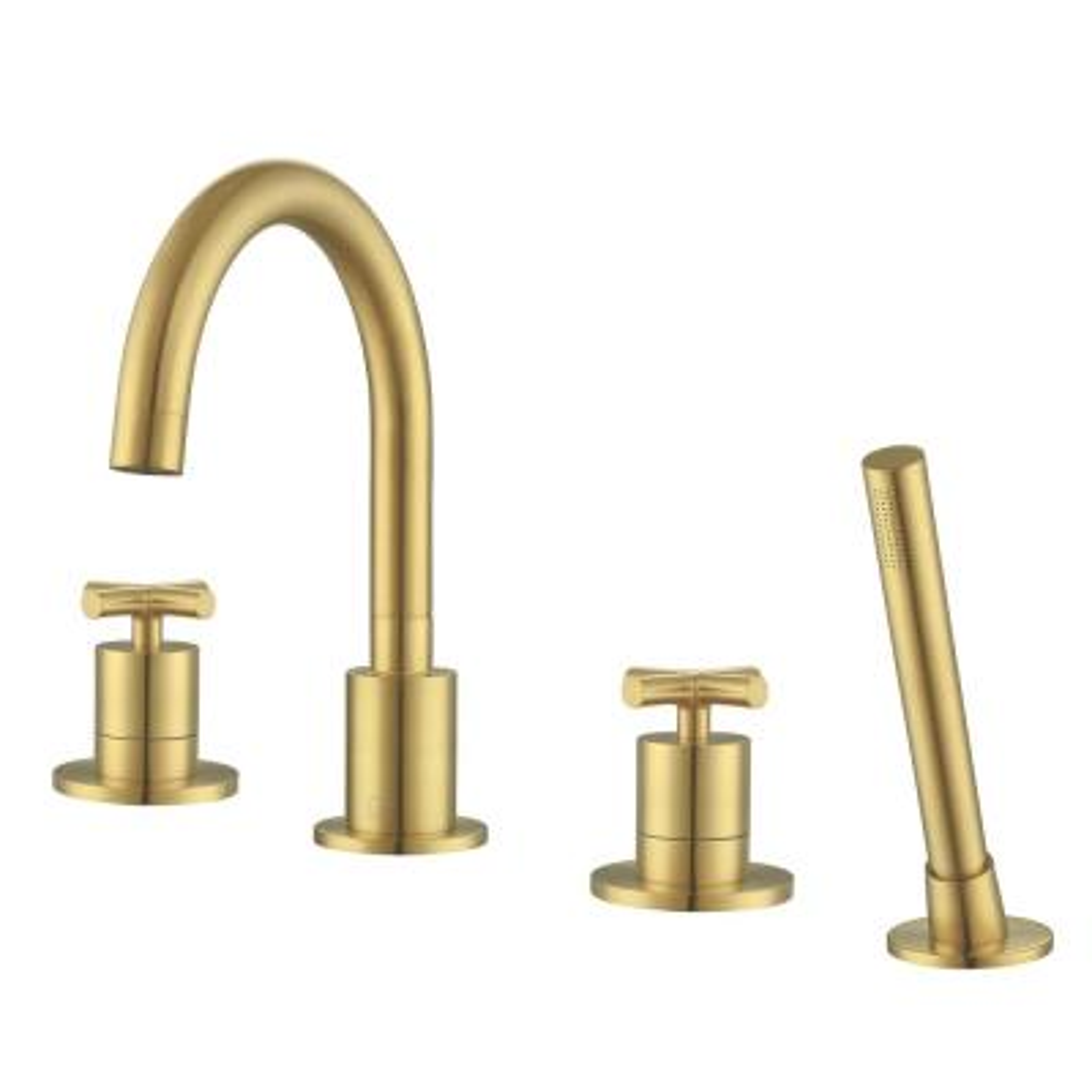 Ava Bathroom 2-Handle Roman Tub Faucet in Brushed Titanium Gold