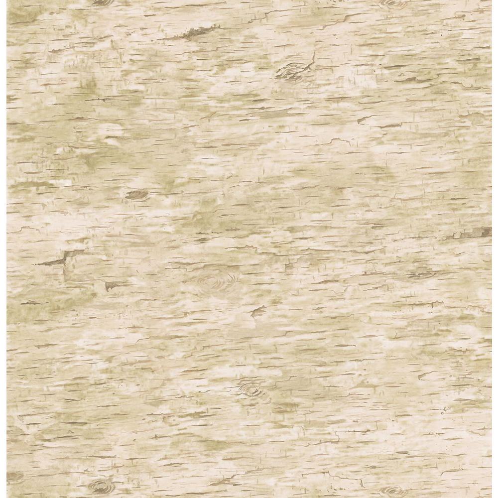 Northwoods Lodge Light Tan Birchbark Wallpaper Sample
