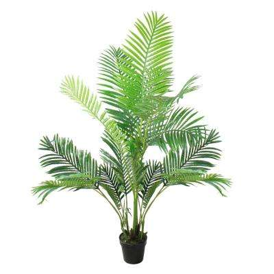 63 in. Potted Artificial Green Plastic Areca Palm Tree