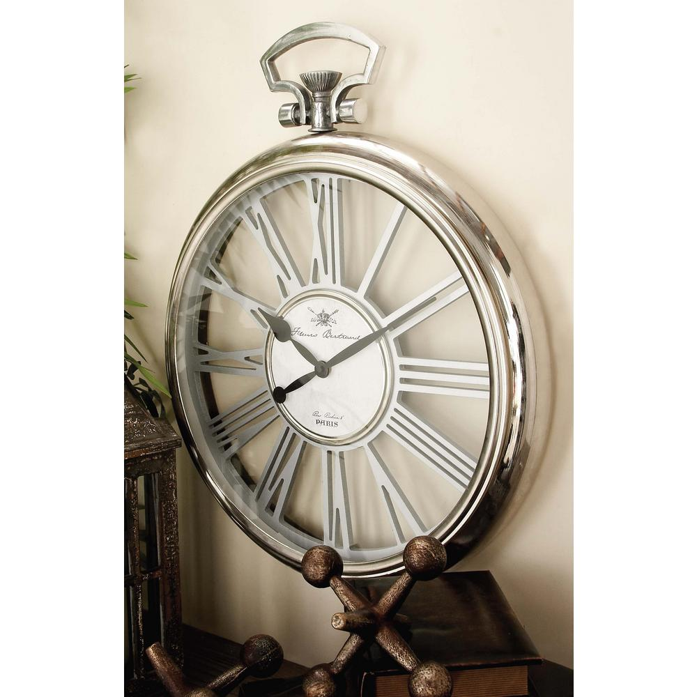 20 in. x 16 in. Metallics Stopwatch-Style Round Wall Clock