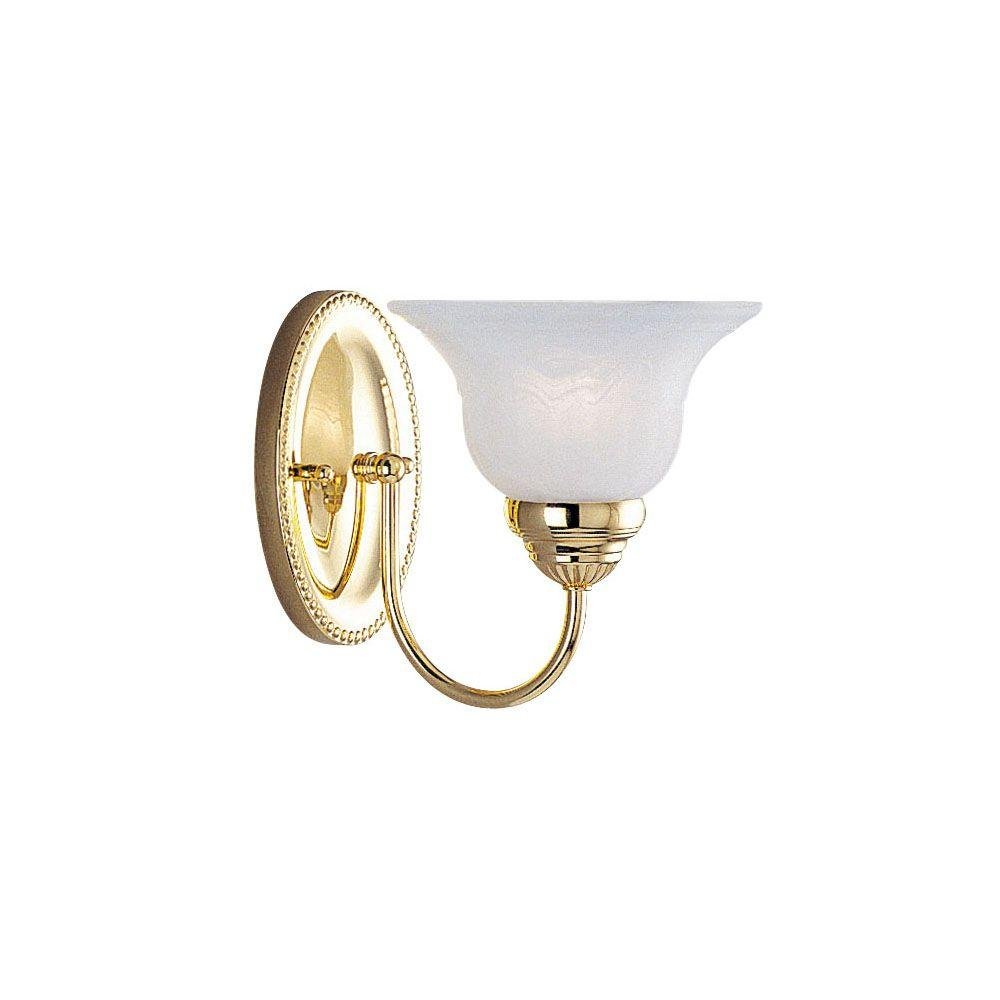 Livex Lighting 1-Light Polished Brass Bath Light with White Alabaster Glass
