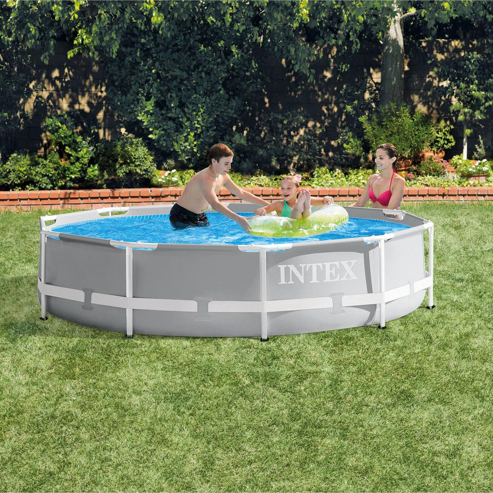 Intex Intex 10 ft. x 30 in. Prism Frame Steel Above Ground Outdoor Swimming  Pool