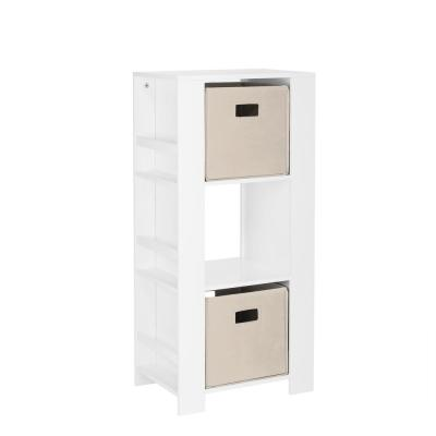 Kids White Cubby Storage Tower with Bookshelves with 2-Piece Taupe Bins