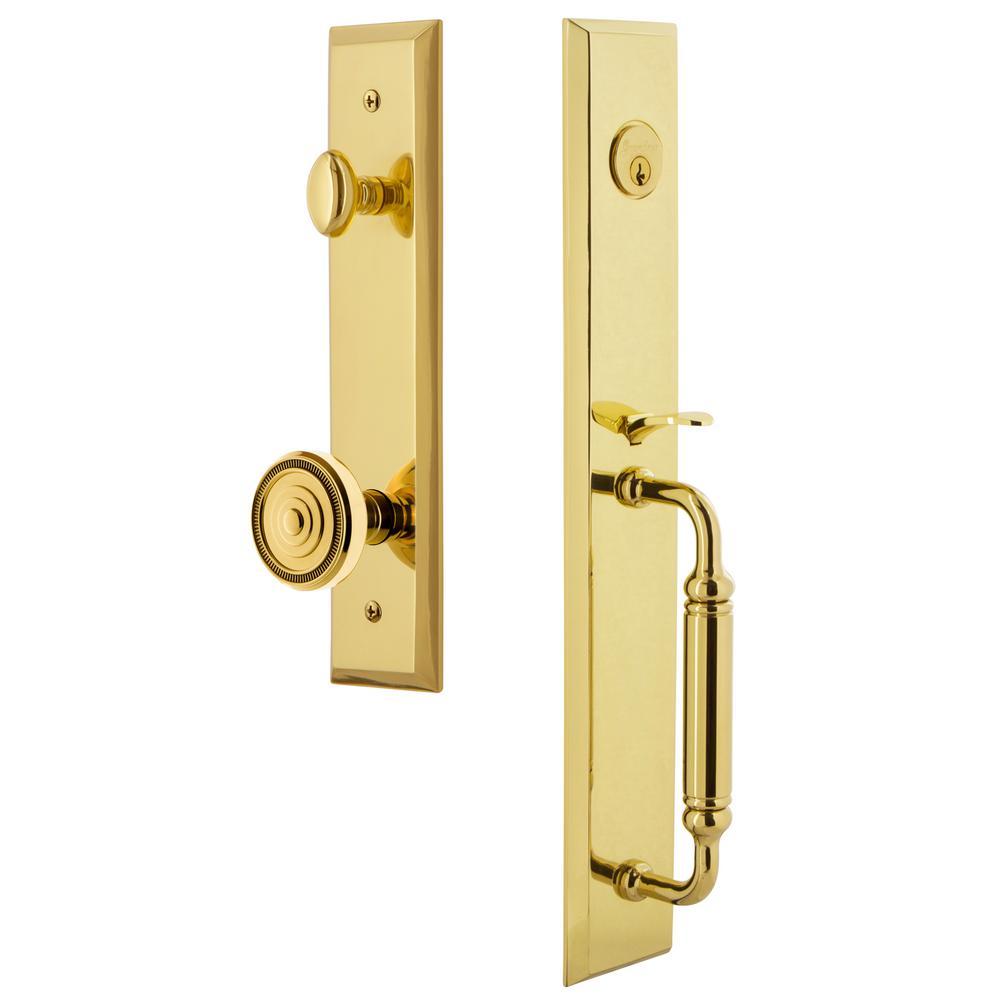 Fifth Avenue 2-3/8 in. Backset Lifetime Brass 1-Piece Door Handleset with C-Grip and Soleil Knob