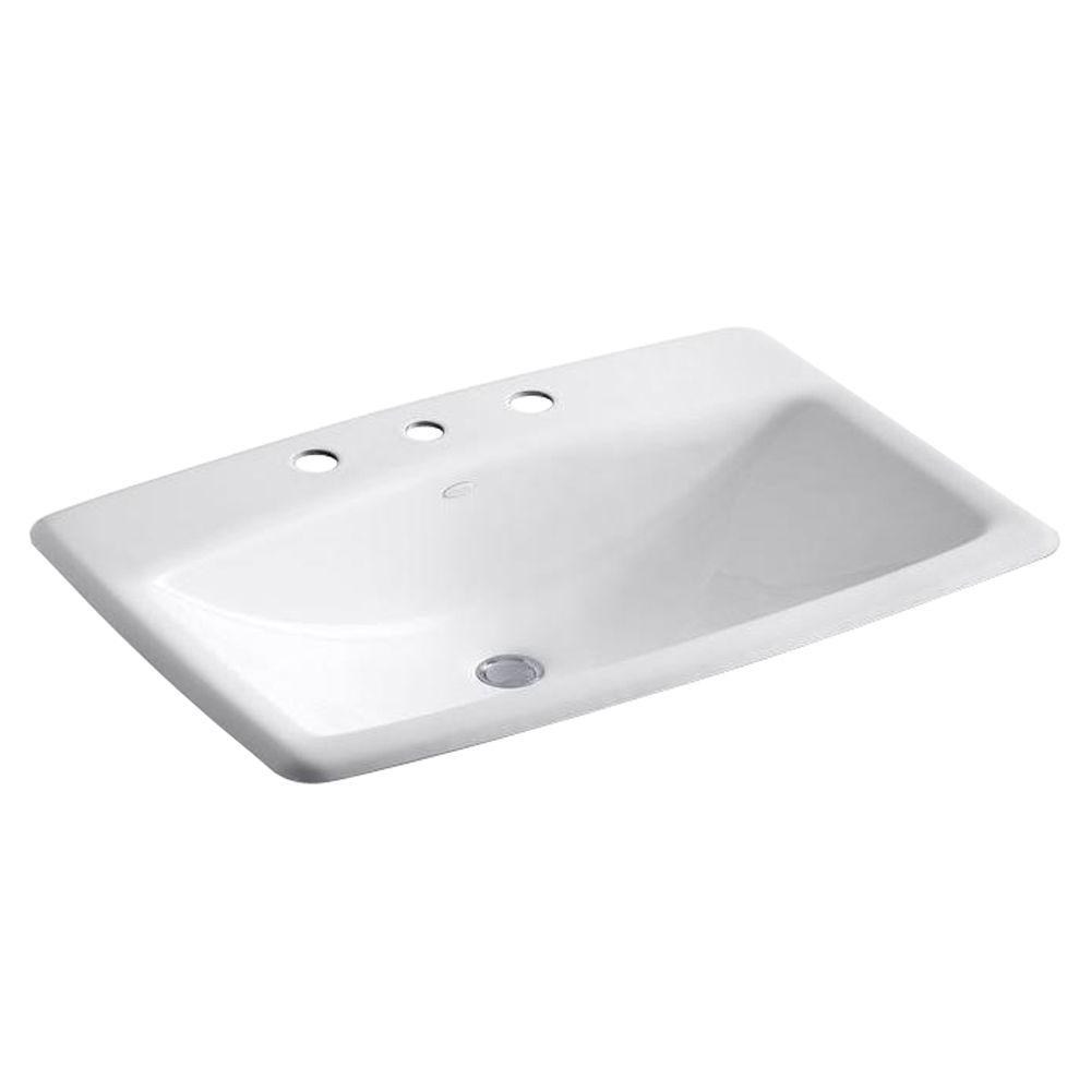 Man's Lav Drop-In Cast Iron Bathroom Sink in White with Overflow
