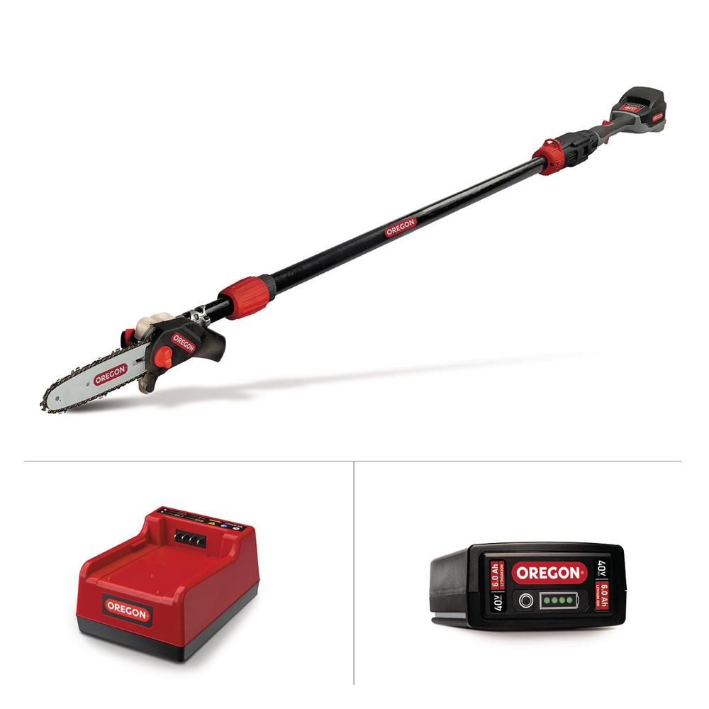 Oregon 8 in. 40-Volt Electric Cordless Telescoping Pole Saw - 6.0Ah Battery and Rapid Charger Included