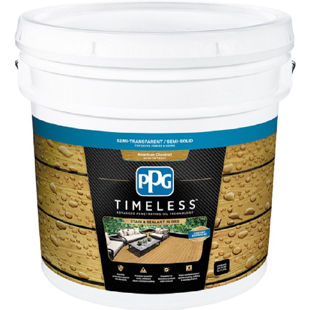PPG TIMELESS 1 gal. TST-50 American Chestnut Semi-Transparent Penetrating Oil Exterior Wood Stain
