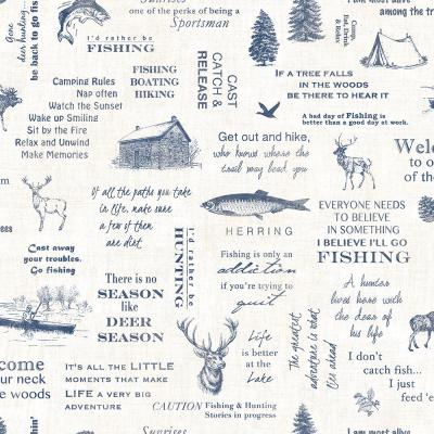 North Hills Navy Camping Quotes Paper Strippable Roll (Covers 56.4 sq. ft.)