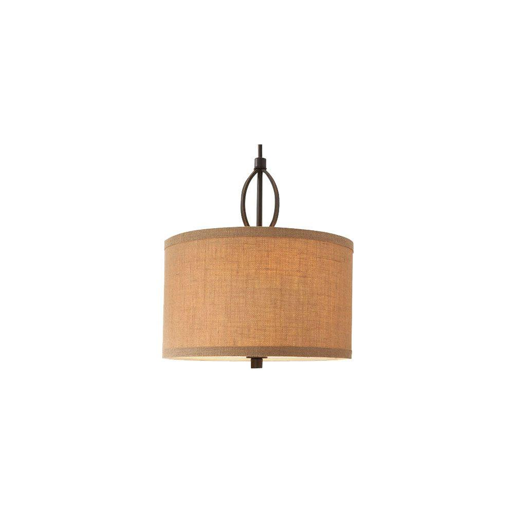3 Light Oil Rubbed Bronze Pendant With Burlap Drum Shade And Hardwire Or Plug
