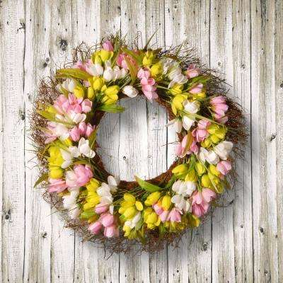 22 in. Yellow, Pink and White Tulip Wreath