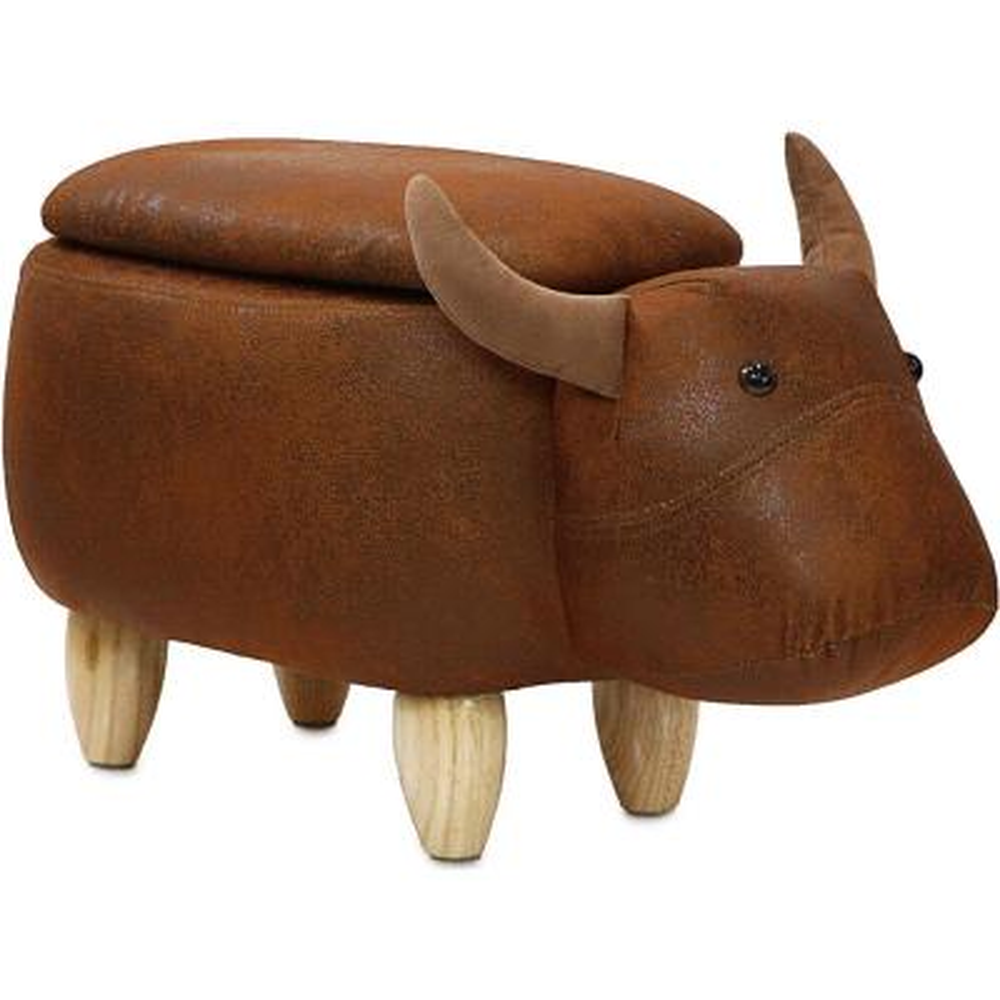 Brown Cow Animal Shape Storage Ottoman