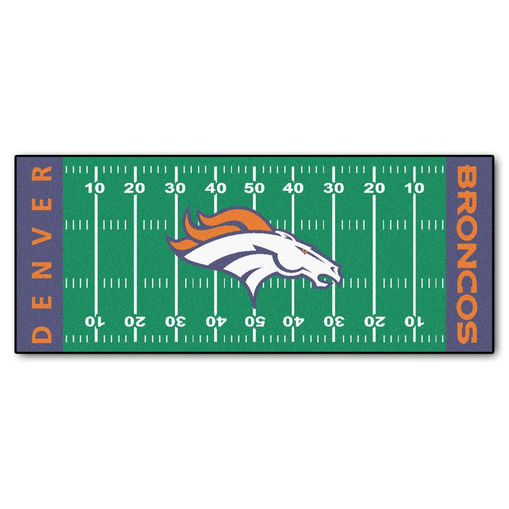 e7b0b7170 FANMATS Denver Broncos 3 ft. x 6 ft. Football Field Rug Runner Rug ...