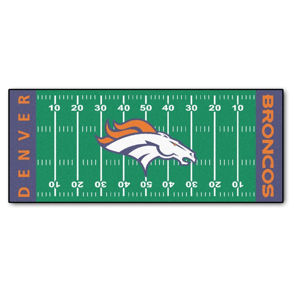 Denver Broncos 3 ft. x 6 ft. Football Field Rug Runner Rug