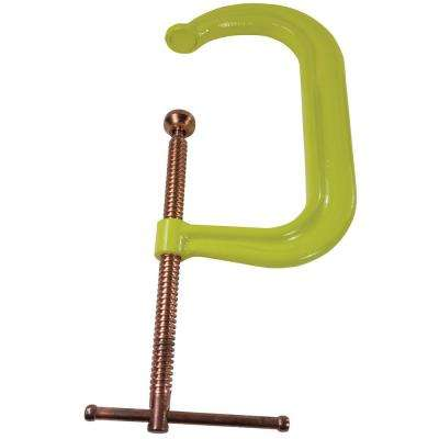 Regular Duty Drop Forged C-Clamp 8 in. Capacity 4-1/2 in. Throat Depth Hivis Yellow Frame with Copper Plated Spindle