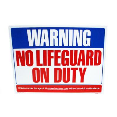 24 in. x 18 in. Blue Devil No Life Guard On Duty Sign