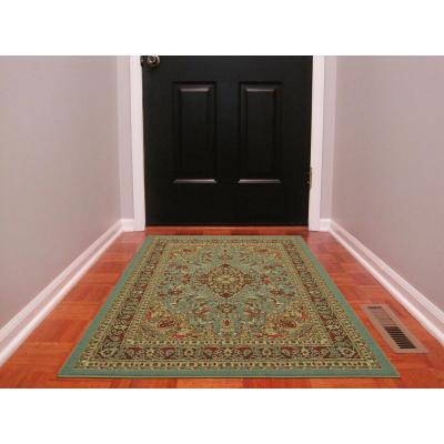 Ottohome Collection Traditional Persian All-Over Pattern Design Seafoam 3 ft. x 5 ft. Area Rug