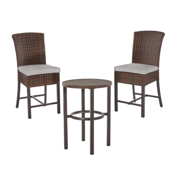 Harper Creek Brown 3-Piece Steel Outdoor Patio Bar Height Dining Set with CushionGuard Stone Gray Cushions