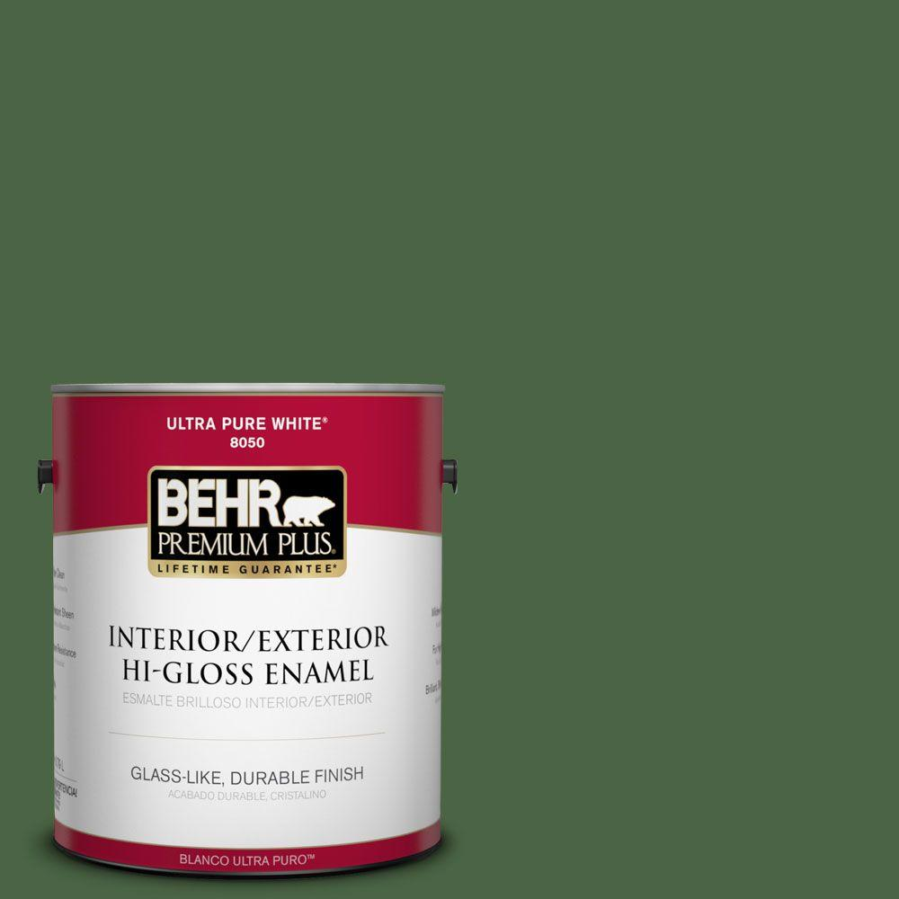 BEHR Premium Plus 1-gal. #S400-7 Deep Viridian Hi-Gloss Enamel Interior/Exterior Paint