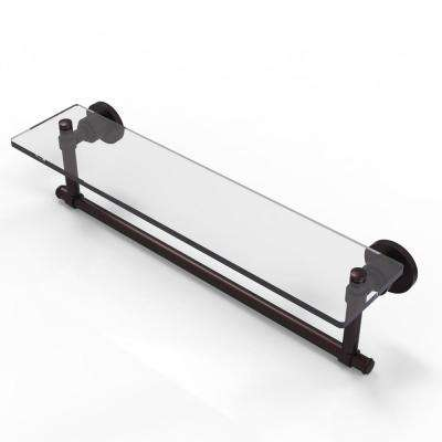 Washington Square Collection 22 in. Glass Vanity Shelf with Integrated Towel Bar in Antique Bronze