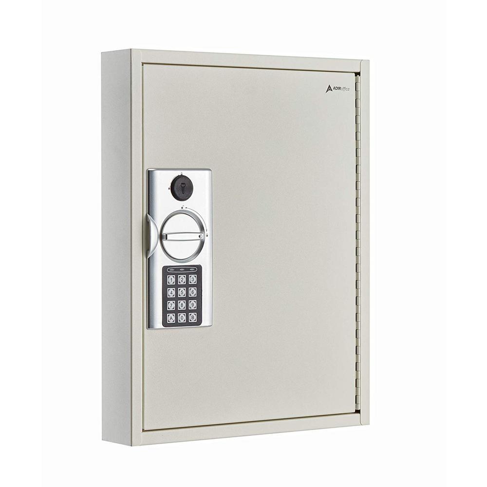 60-Key Steel Heavy-Duty Digital Lock Key Cabinet, White