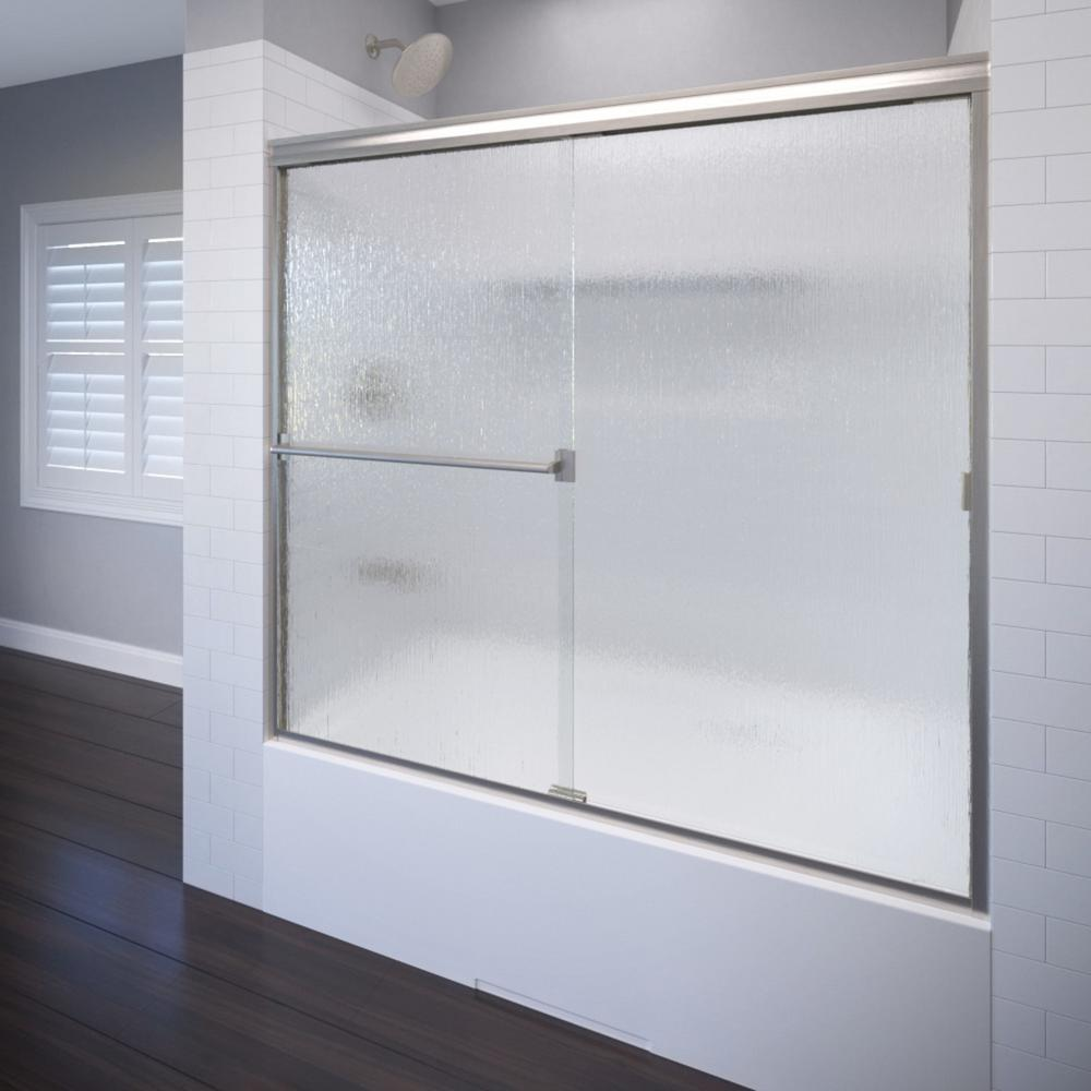 Classic 56 in. x 56 in. Semi-Framed Sliding Tub Door in