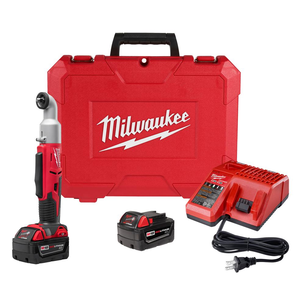 Milwaukee M18 18-Volt Lithium-Ion Cordless 3/8 in. 2-Speed Right Angle Impact Wrench Kit W/(2) 3.0Ah Batteries, Charger, Hard Case