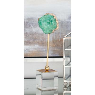 Geode Decor with Metal Stand and Glass Base