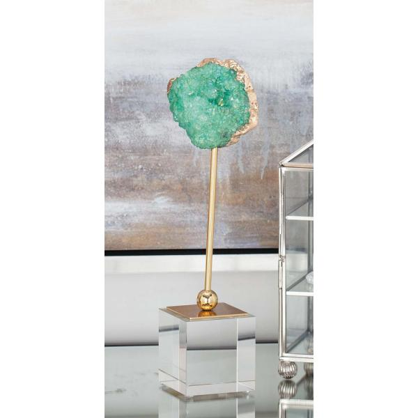 Litton Lane Geode Decor with Metal Stand and Glass Base 35763