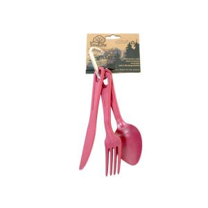 Bamboo 3-Piece Pink Cutlery (3-Pack) by