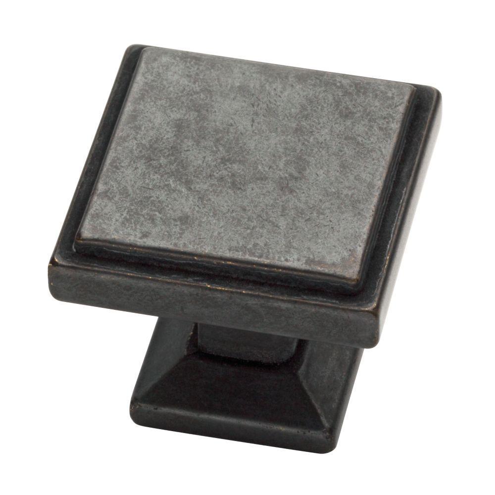 Classic Square 1-1/9 in. (28 mm) Soft Iron Cabinet Knob