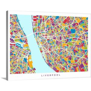 Liverpool Map Of England.40 In X 30 In Liverpool England Street Map By Michael Tompsett Canvas Wall Art