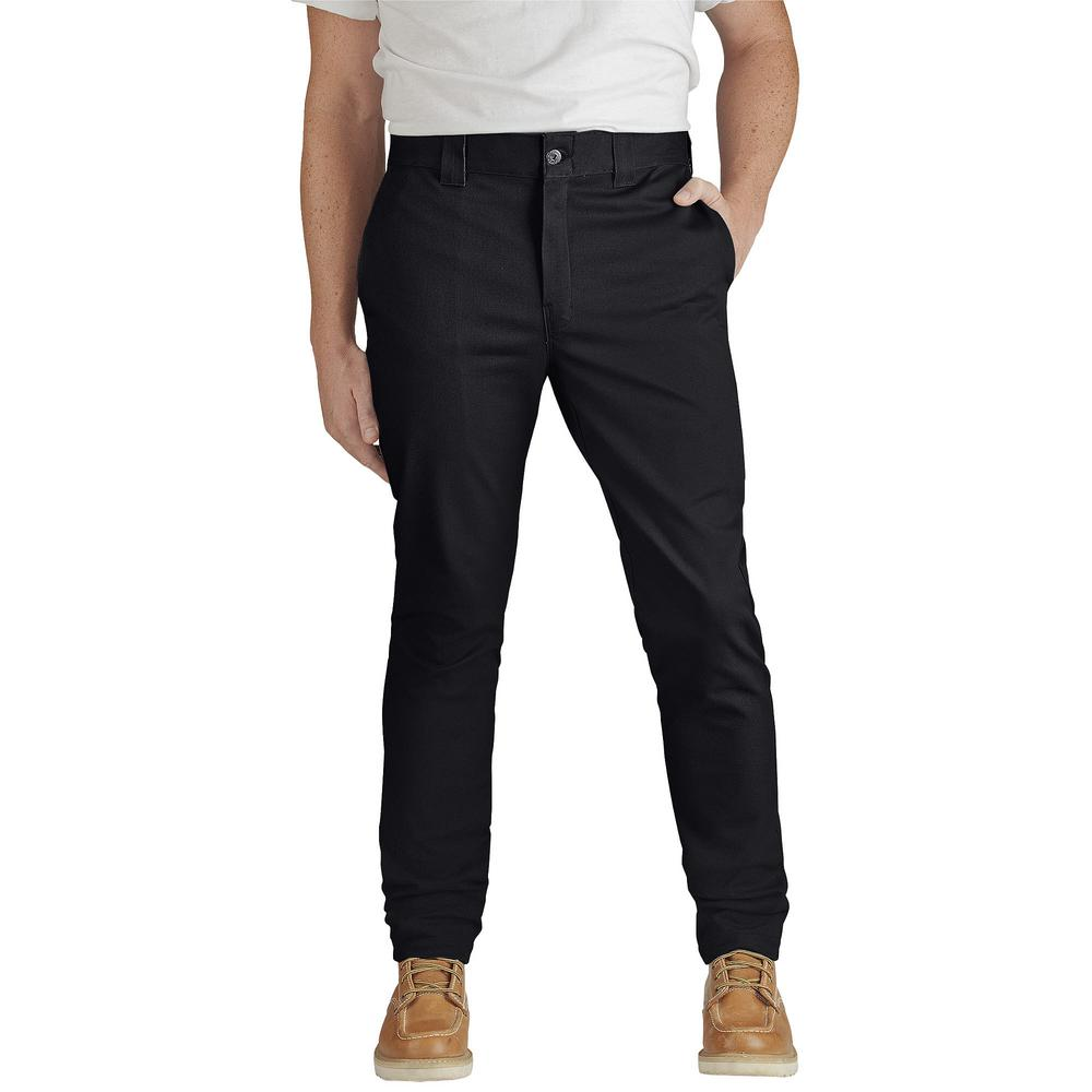 f087d81c7df Dickies Men 36 in. x 32 in. Flex Slim Skinny Fit Black Twill Work ...
