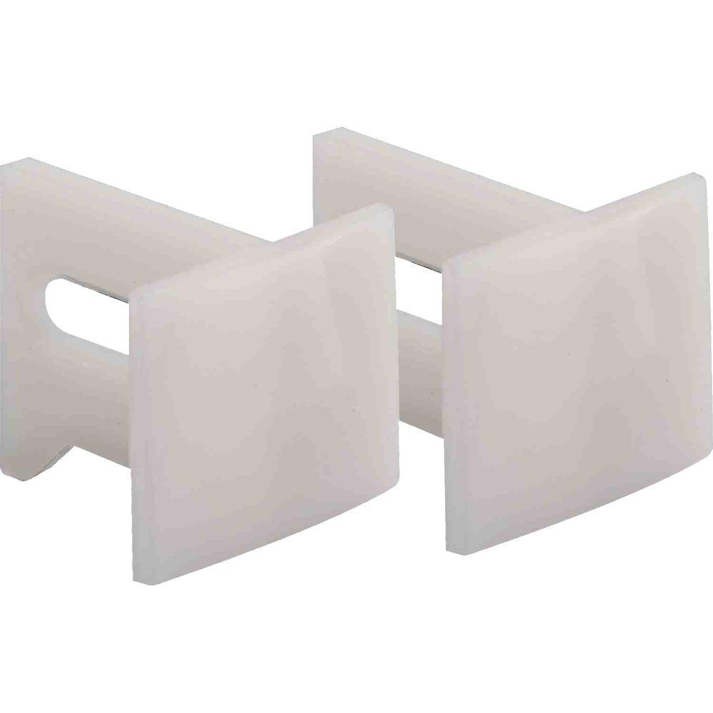Pocket Door Bottom Guides, 1-1/8 in., Plastic, White (2-pack)
