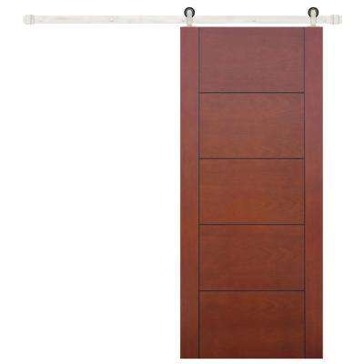 36 in. x 84 in. Contemporary Prefinished 5-Panel Flush Mahogany Wood Barn Door with Stainless Sliding Door Hardware Kit